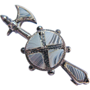 Victorian Montrose Agate Sterling Silver Halberd And Shield Pin