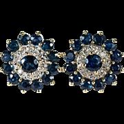Sapphire Diamond Flower Stud Earrings 585 14k Gold Pierced Studs