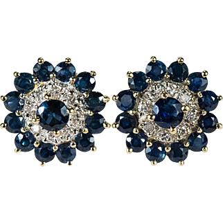 Sapphire Diamond Flower Stud Earrings 585 14k Gold Pierced Studs