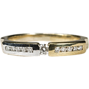 Unique Natural Diamond Ring Two Tone 14k Gold Wedding Band
