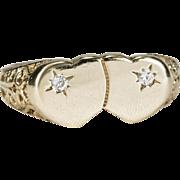 Magical Double Heart Diamond Promise Ring 10k Gold Filigree Heart Ring
