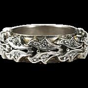 Medieval Style Diamond Ring 14k Gold Designer Diamond Band