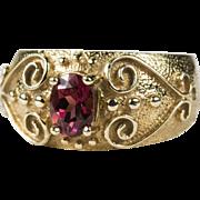 Heart Etruscan Cigar Band Pink Tourmaline Ring 10k Gold