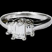 Ravishing 1.06ctw Emerald Cut Diamond Ring 14k Gold Engagement Wedding