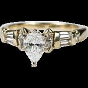 Magnificent 1.40ctw Pear Cut Diamond Ring 14k Plumb Gold Engagement