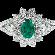 2ctw Natural Diamond Emerald Ring 18k Gold Halo Diamond Ring