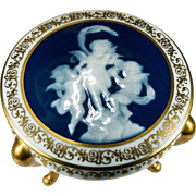 Incredible Enamel Musical Cherubs Three Footed Gold Limoges Trinket Box Urn