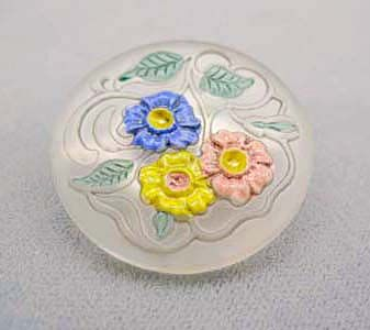 Exquisite 1920's Czech Art Glass Etched Pin RARE - Vintage Czech Frosted Glass Bead w/ Floral Motif