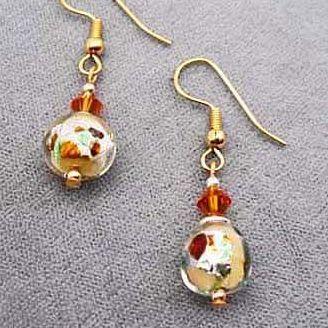 Gorgeous Venetian Art Glass Earrings - RARE 1940's Silver Foil Venetian Beads