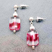 Gorgeous Magenta German Art Glass Earrings, RARE 1940's German Glass Beads