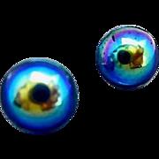 Gorgeous German Blue Art Glass Pierced Earrings, SCARCE 1960's German Glass Beads