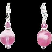 Gorgeous Pink Czech Art Glass Earrings, SCARCE 1950's Frosted Czech Glass Beads