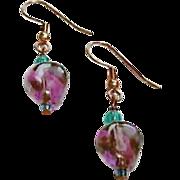 Gorgeous Purple German Art Glass Earrings, RARE 1960's German Beads