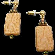 Fabulous Ochre West German Art Glass Earrings, SCARCE 1940's German Pressed Glass Beads