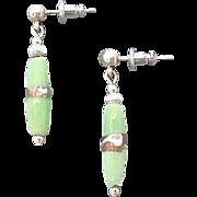 Stunning Green Venetian Art Glass Earrings, RARE Silver Foil Venetian Glass Beads