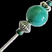 Stunning Art Deco Venetian Glass Stick Pin, RARE 1930's Satin Glass Venetian Bead