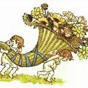 Kate Greenaway's 'Language Of Flowers' DJ, Illustrations -  Art, Nature, Garden, Hardcover, Vintage