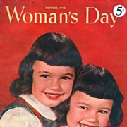 October 1948 Woman's Day Magazine, Twin Cover, Advertising, Interior Design, Fashion, Recipes