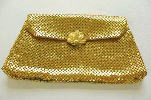 DESIGNER 1940's Whiting & Davis Evening Bag - Rhinestone Clasp / Gold Mesh / SCARCE / Vintage
