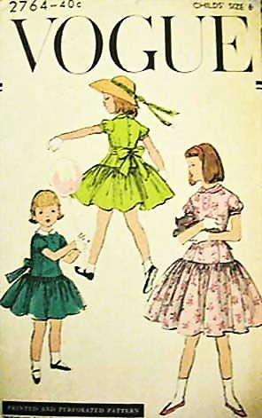 1950's Vogue #2764 Girls' Dress Size 6, Bust 24 - UNCUT, Retro, Vintage Printed Pattern, Children