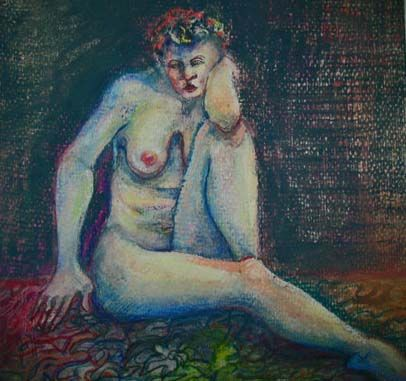 Stunning Nude Original Mixed Media Painting, Signed - Artist Judith Jaffe, Nude Woman