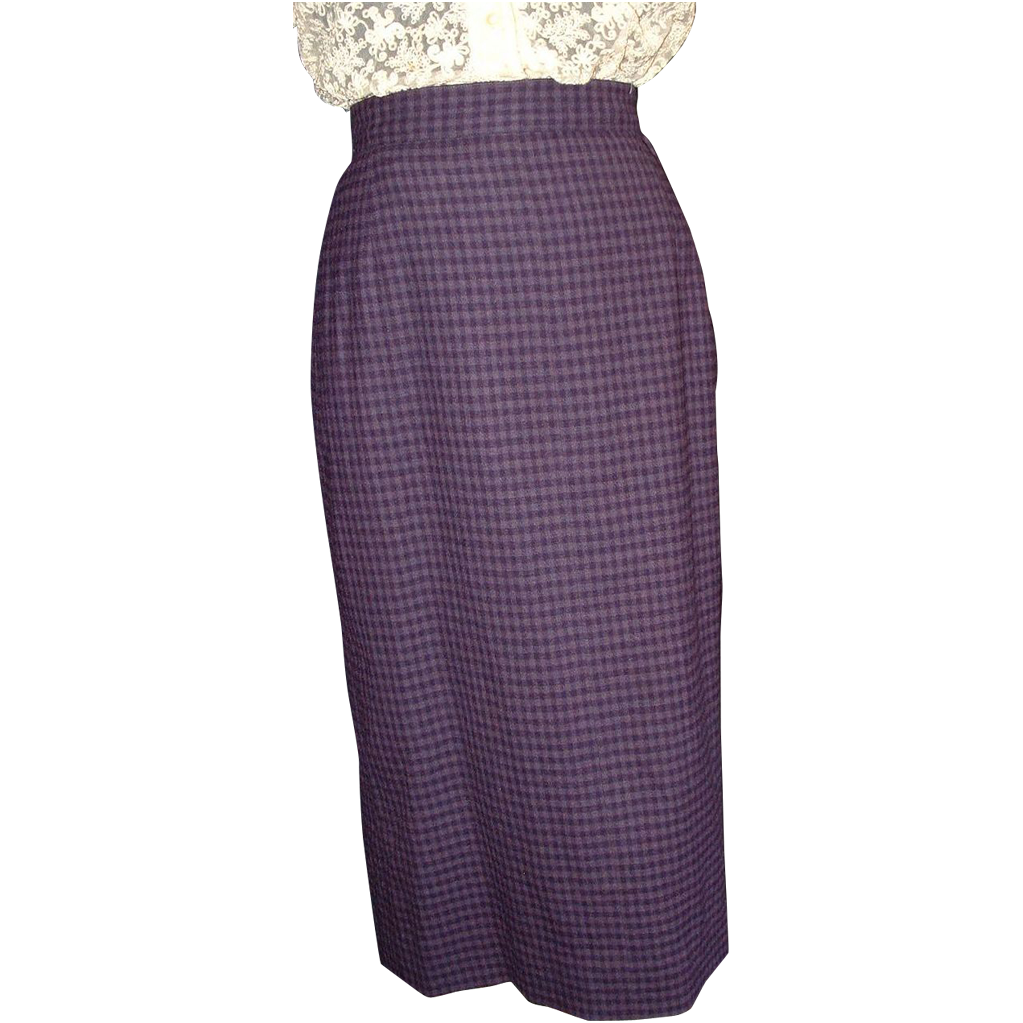 1950's Purple Checked Pencil Skirt