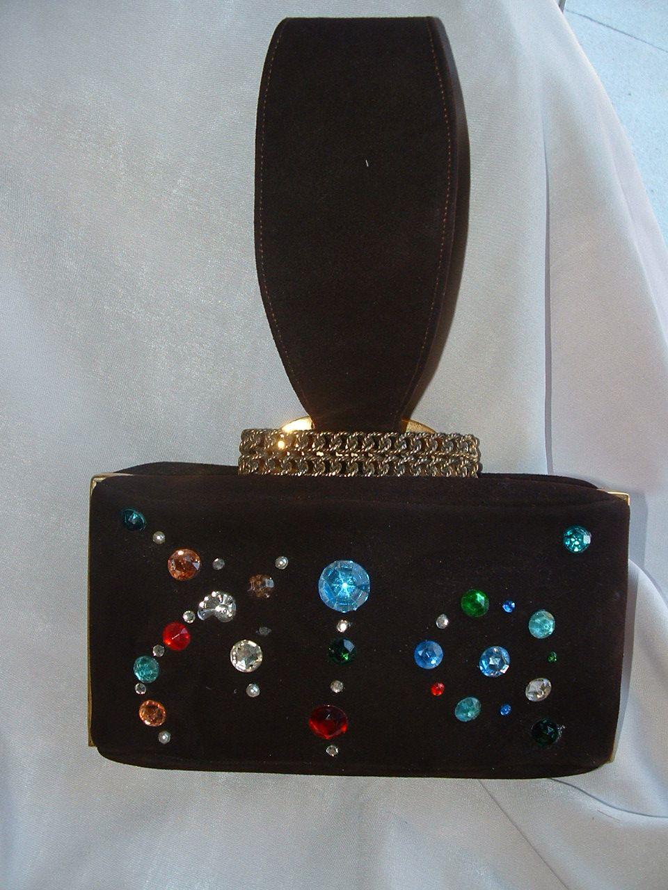 1940's Brown Suede Bejeweled Handbag