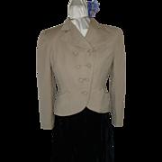 1940's Beige Grey Wool Jacket S/M