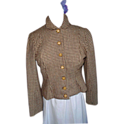 1950's Checked Wool Short Jacket M