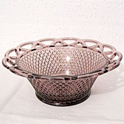 "Vintage Collectible 7 ¼ "" Burgundy Glass Fruit Bowl by Imperial Glass Co in The Laced Edge Pattern from 1950-60s Mint"