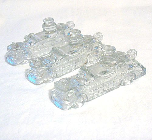 Old Vintage Collectible Christmas Glass Candy Containers in Shape of Fire Engine 1940s Mint X 3