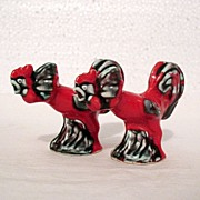 Vintage Collectible Red Rooster S & P Shakers Looking Like They Are Ready to Fight 1950-60s.