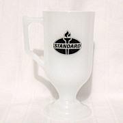 SALE 20% OFF Vintage Collectible Milk Glass Advertising Pedestal Mug by Amoco Standard Miss Am