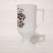 Vintage Collectible  Advertising Souvenir Milk Glass Pedestal Mug for Crazy Horse Mt. Monument