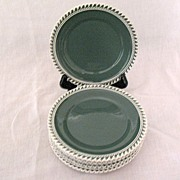 """Vintage Collectible (7) 6 1/4"""" Bread & Butter Plates~Harker~Chesterton Olive Green Pate-S"""
