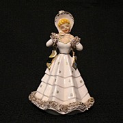 "Vintage 6 1/2"" Figurine Planter Hand Painted~Gingerbread Decorations~Gold Accent~1950s~Mi"