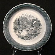 Vintage Collectible Currier & Ives 10 Inch Pie Baker Kids Skating On A Pond 1950s Mint Unused