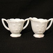 Vintage Imperial Milk Glass Sugar & Creamer with Raised Rose Pattern 1950-71 Mint