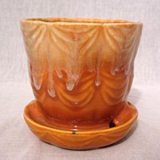 SALE Vintage Collectible Brush Flower Pot & Saucer #328-4 Drape Pattern~Orange & White Drip Gl