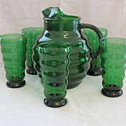 Vintage Elegant Green  Glass Pitcher & 5 Glasses Anchor Hocking Glass Company