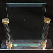 SALE Old Vintage Beveled Glass Picture Frame Metal Base & Columns