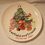 SALE Vintage Collectible Ceramic Garfield & Friends Christmas 1982 Plate Enesco 1981 Mint Cond