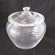 SALE Vintage Crystal Cookie/Cracker Jar with Horizontal Ribs 1960s Mint Condition