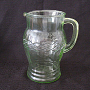 Vintage Anchor Hocking Green Depression Glass Pitcher Vertical Optical panels Lattice Like Motif Around The Pitcher 1930s Excellent Condition
