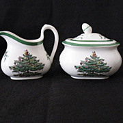 SALE Vintage Collectible Spode China Christmas Tree Green Trim Pattern S3324 Sugar With Lid &