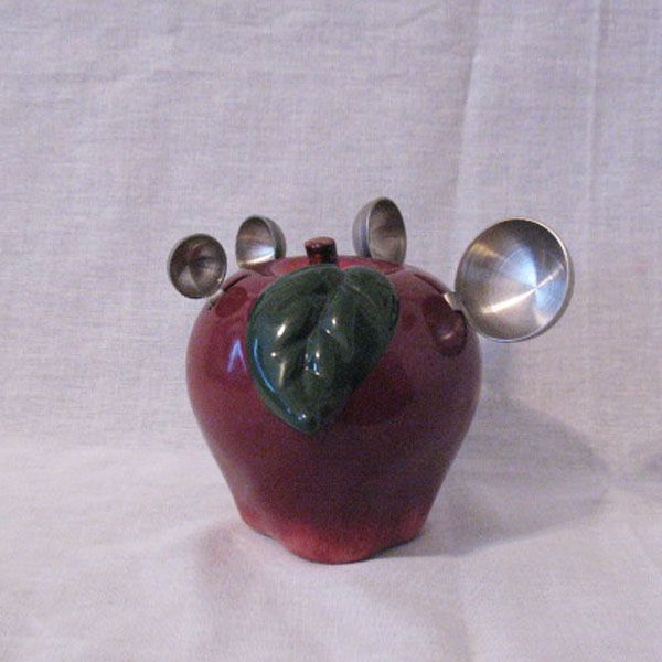 Vintage Ceramic Apple Shaped Measuring Spoon Holder With 4 Stainless Steel Measuring Spoons 1970s Excellent Condition