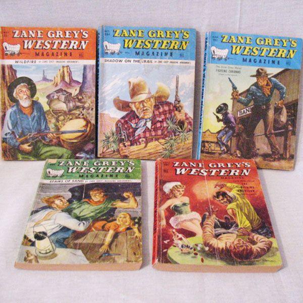 Vintage Collectible (5) Zane Grey Western Magazines 1940-50s Very Good Condition