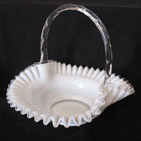 Vintage Collectible Fenton Milk Glass Silver Crest 13 Inch Basket 1952 Excellent Condition