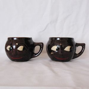 Two Old Vintage Black Faced Ceramic Mugs 1950s Excellent Vintage Condition