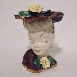 Vintage Lady Head Vase Burgundy Hat & Dress 24K Gold Accents 1960s Excellent Condition